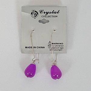 Teardrop Crystal Smooth Glass Beaded Earrings